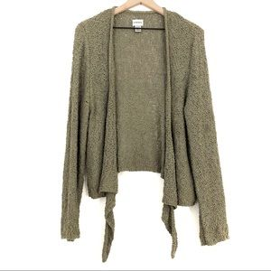 Chico's | Olive Green Nubby Open Draped Cardigan